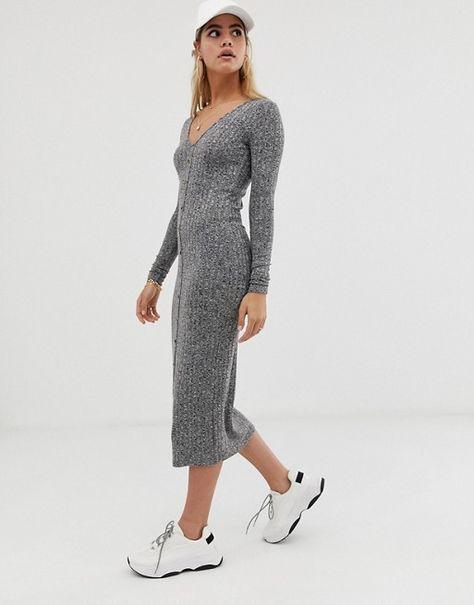 eb56ebd99af5f35 DESIGN marl rib button through midi dress in 2019 | Style & Fashion ...