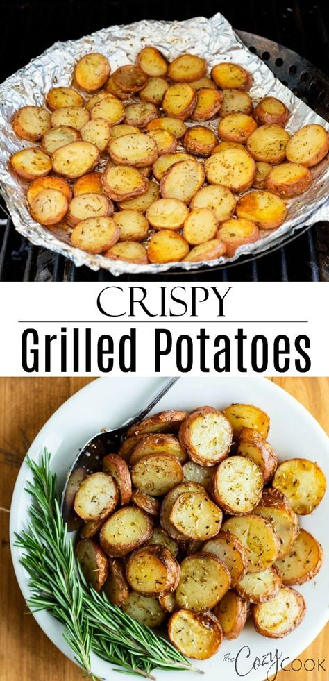 These extra-crispy potatoes are easy to cook on the grill in foil and are tossed in my grandmother's rosemary seasoning recipe! Enjoy perfectly roasted potatoes without heating up your kitchen! #grilled #potatoes #rosemary #roasted #seasoning