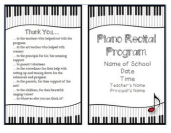 Black White Music Recital Program Template Zazzle Com Piano