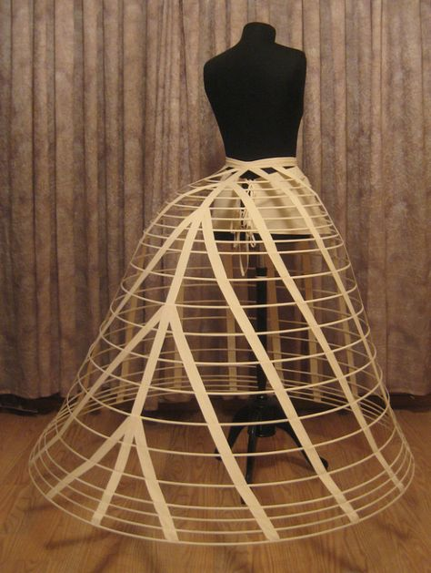 Cage Crinoline came along with the revival of the hoop skirt. They were made out of steel and were said to be lightweight, healthier, and easy to take off and putt on.