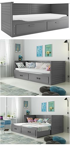 Bms Hermes Trundle Double Bed 200x80 With Mattresses And With Drawer Color Graphite Interior Design Interior Double Beds