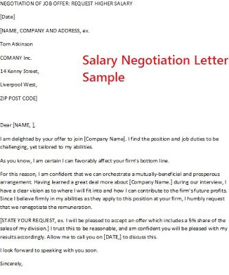 Salary Negotiation Letter Sample Salary Negotiation Letter