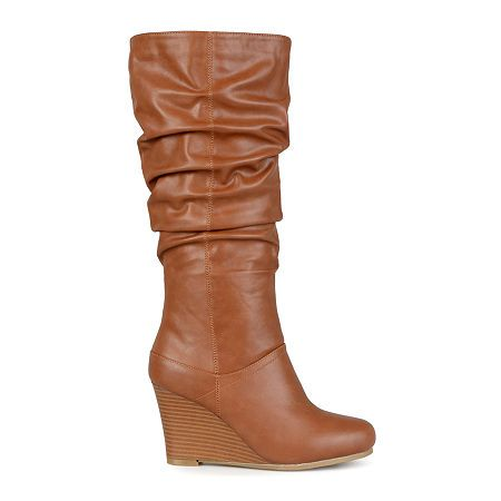 f8dfff35b257 Journee Collection Hana Wide Calf Womens Slouch Wedge Heel Boots ...