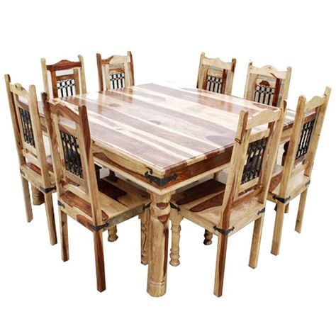 Peoria Solid Wood Large Square Dining Table Chair Set For 8 People Square Dining Room Table Square Kitchen Tables Wood Dining Room Table