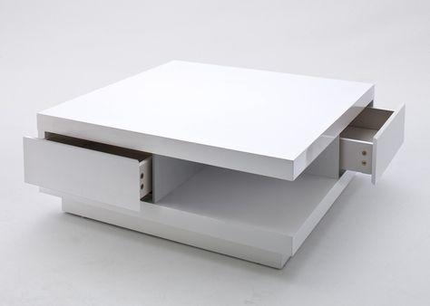 Couchtisch quadratisch Lamberto Wohnzimmertisch Weiß Hochglanz - wohnzimmertisch hochglanz weiß