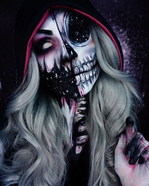 my take on lady death/reaper piece 😊 i missed being creepy! thank you to for always being such an awesome… Amazing Halloween Makeup, Halloween Queen, Halloween Makeup Looks, Cute Halloween, Halloween Costumes, Fx Makeup, Cute Makeup, Monster Makeup, Creative Makeup Looks