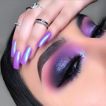 Embark on a new journey through space with the HUDA BEAUTY Mercury Retrograde eyeshadow palette. This palette will take you to infinity and beyond with 18 incredible galactic inspired colors and textures to deliver infinite possibilities. Makeup Eye Looks, Purple Eye Makeup, Colorful Eye Makeup, Cute Makeup, Gorgeous Makeup, Pretty Makeup, Purple Eyeshadow Looks, Purple Makeup Looks, Bold Eye Makeup