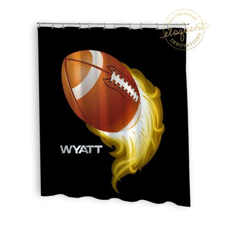 Football Shower Curtains Sports Boys Gold And Black Football