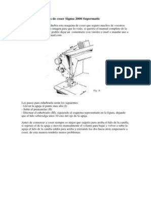 Libro De Instrucciones Sigma Supermatic 2000 Enchufes Y Tomas De Corriente De Ca Bienes Enhebrar Maquina De Coser Maquinas De Coser Sigma Maquina De Coser