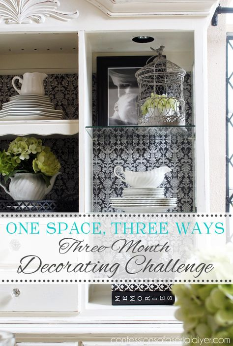 One space, three ways decorating challenge. This month I gave my hutch a whole new look with scrapbook paper!