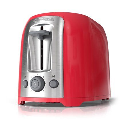 Black Decker 2 Slice Extra Wide Slot Toaster Red Silver