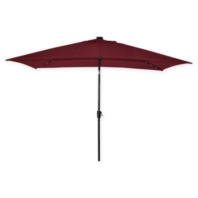 Destination Summer 11 Foot Rectangular Aluminum Solar Patio Umbrella Solar Umbrella Outdoor Patio Shades Solar Patio