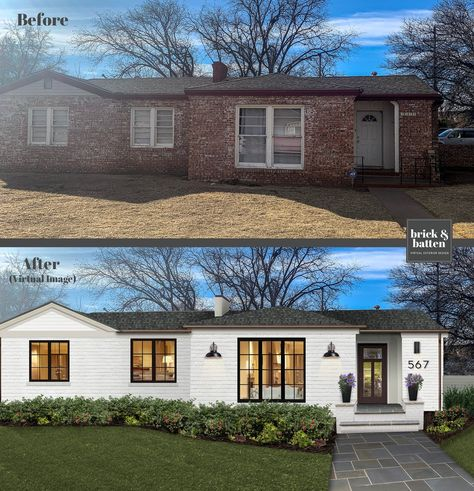 We virtually paint brick houses everyday. We& found 20 painted brick houses to inspire and get you excited to paint your brick. Home Exterior Makeover, Exterior Remodel, House Paint Exterior, Exterior Design, Exterior Houses, Ranch Exterior, Stone Exterior, Exterior House Colors, Painted Brick Exteriors
