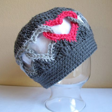 CROCHET PATTERN - Be Mine - a linked heart hat in 8 sizes (Infant - Adult L) - Instant PDF Download