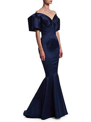 Zac Posen Off The Shoulder Meramid Gown Indigo Off Shoulder Evening Dress Dresses Evening Gowns