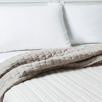 Gray Stitched Stripe Quilt King Threshold Quilt Bedding