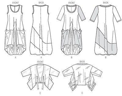 Vogue March Tilton Sewing pattern Misses' Loose Dress & Jacket Sxm- Xxl