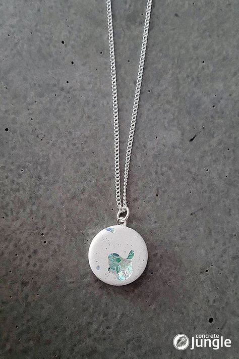 Concrete jewelry with embedded glass and inclusions - jewelry . - Concrete jewelry with embedded glass and inclusions – # in -