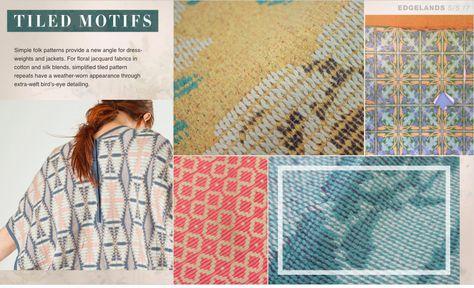 Print and Pattern - TILED MOTIVES - simple folk patterns + weather worn appearance + bird's eye detailing