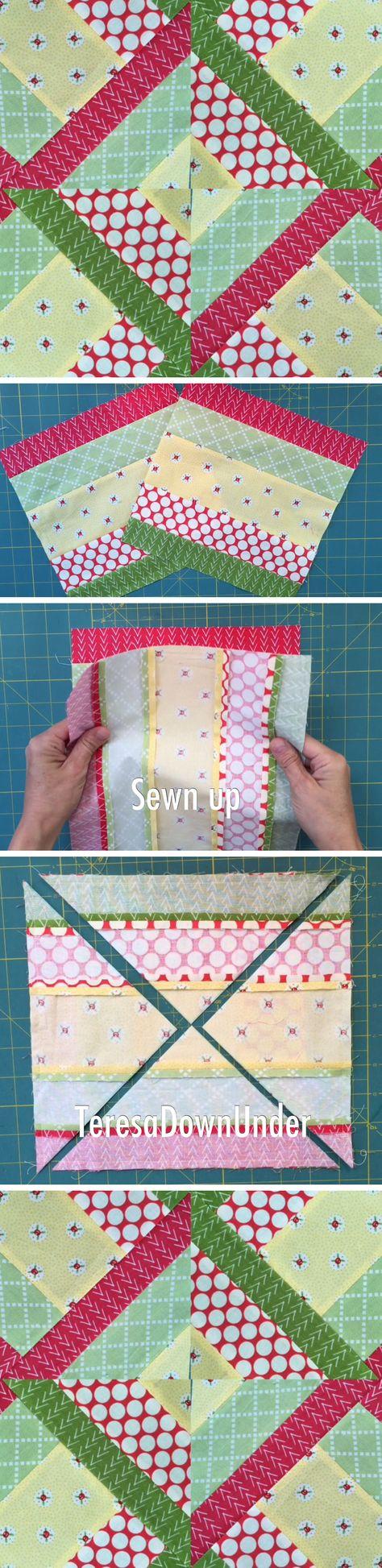 From 5 fabric strips to quilt block video tutorial (Hidden wells)