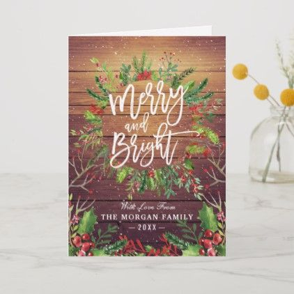 Holiday Wishes Merry And Bright Christmas Greeting Zazzle Com Happy Holidays Wishes Holiday Design Card Christmas Greetings