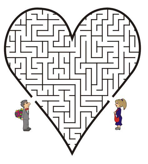 Labyrinthe Theme Mariage Pour Livret Coloriage Et Jeux Enfants