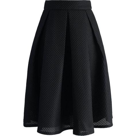 Chicwish Black Waffle Pleated Midi Skirt ($45) ❤ liked on Polyvore featuring skirts, black, midi skirt, mid calf skirt, pleated skirt, calf length skirts and knee length pleated skirt