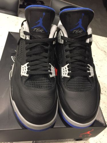 newest 4b377 30e1f Men's Air Jordan 4 Retro Motorsports Alternate Black/Blue ...