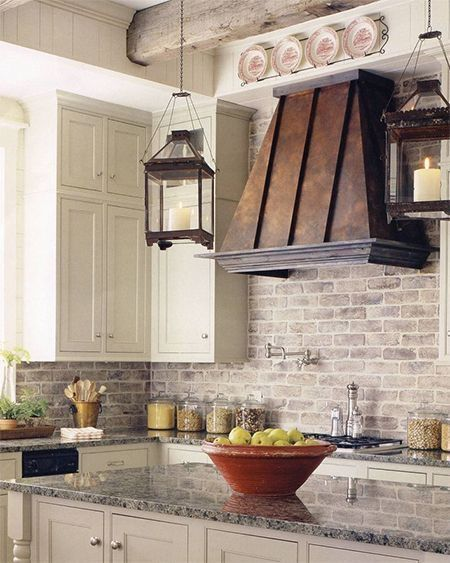 Cozy French Country Kichen With Brick Backsplash Mortonstones