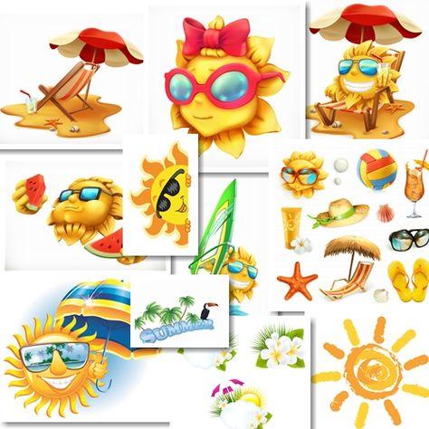 Summer sun in vector