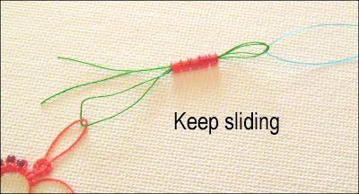 Using a floss threader to add beads to a picot  when the crochet hook method doesn't work