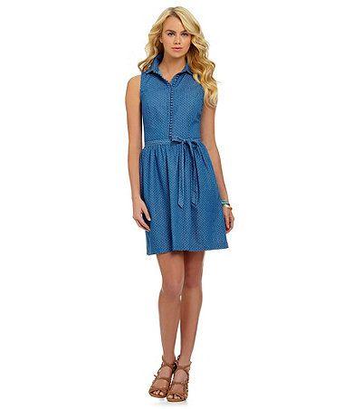 Kensie blue dot a-line dress