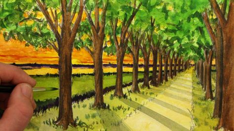 See How to Draw A Simple One-Point Perspective Landscape of A Road and Trees…
