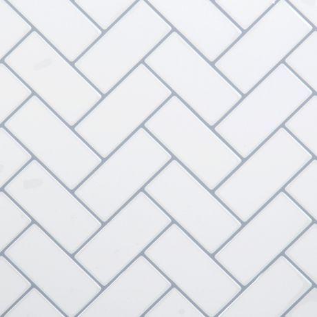 Truu Design White Herringbone Wall Tile Walmart Canada Stick On Tiles Herringbone Wall Herringbone Wall Tile