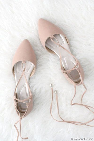 c1e0ec796a18a Faux Suede Pointy Toe Strappy Lace Up Ballet Flats-Nude Beige | New  Arrivals | Lace up ballet flats, Prom shoes, Shoes