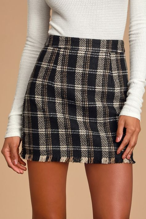 Lulus | French Duo Black Multi Plaid Mini Skirt | Size Large | 100% Polyester