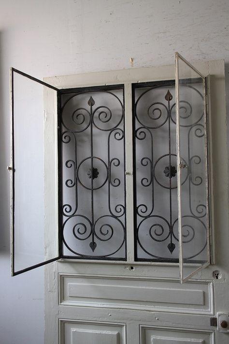 アイアン飾り 玄関ドア 木枠付き フランス アンティークドア 直輸入