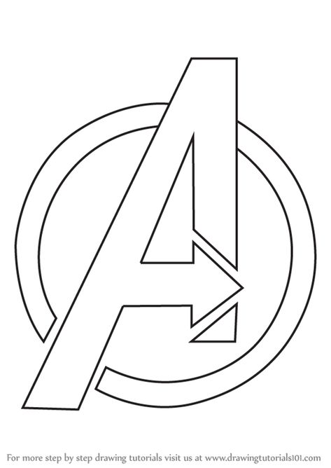 Learn How To Draw Avengers Logo Brand Logos Step By Step Drawing Tutorials Avengers Drawings Avengers Painting How To Draw Avengers