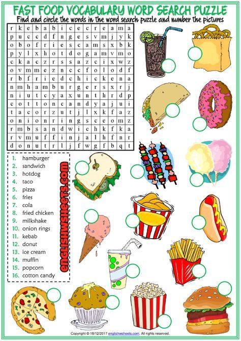 Fast Food Esl Printable Vocabulary Worksheets Atividades De