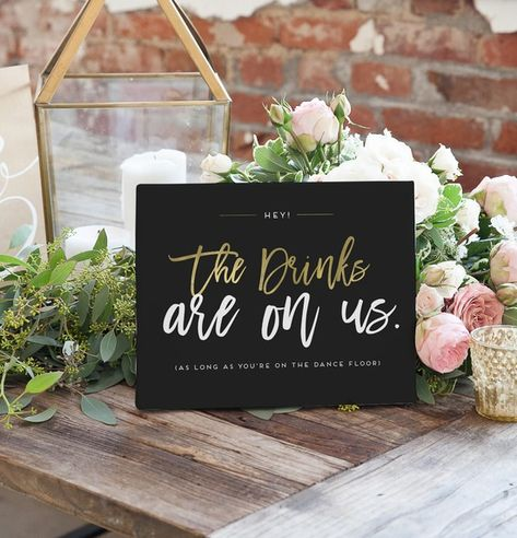 Wedding Bar Sign in Black and Gold
