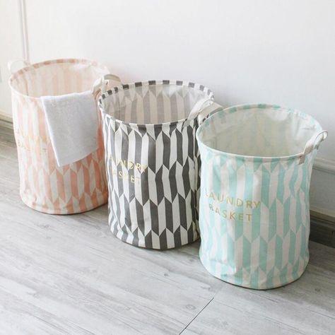New Large Waterproof Laundry Hamper Bag Stripe Clothes Storage