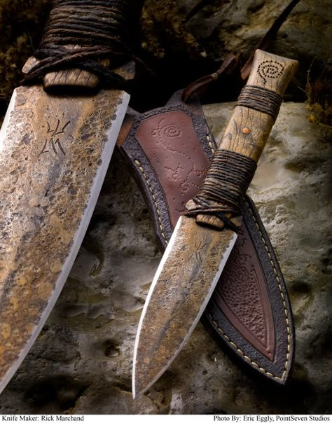 Tribal knife and sheath by Rick Marchand. Inspired by flint knapped knives. 5160 steel, triple tempered. Hemp wrapped, distressed oak handle with copper rivets.