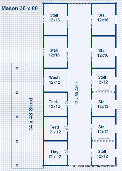 Barn Plans -8 Stall Horse Barn - Design Floor Plan | horses and ...