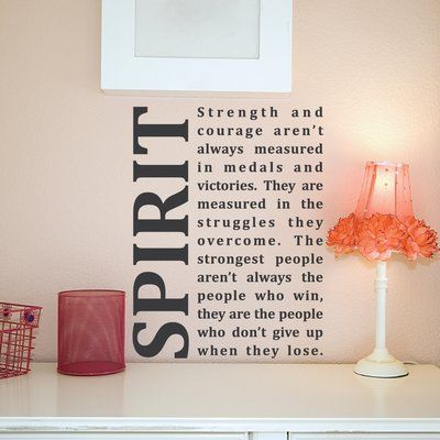 Wallums Wall Decor Spirit Strength And Courage Quote Wall Decal Color: Black