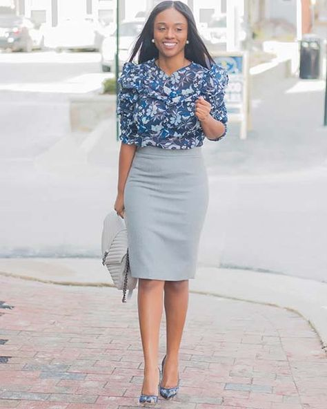 d2448fb6204 Grey Midi Skirt and Blue Blouse Outfit Idea. Grey Midi Skirt and Blue  Blouse Outfit Idea. More information. 23 Cute   Trendy Summer Work Outfit  Ideas ...