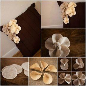 Hacer flores de fieltro para decorar fundas | Como hacer