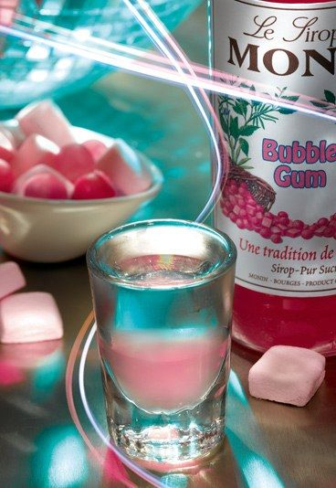 Bubblegum Shooter - Alcoholic shot recipes: Striking party shooters.    15ml Monin Bubblegum Syrup.    35ml Vodka.        Served in a chilled shot glass with sugared rim.
