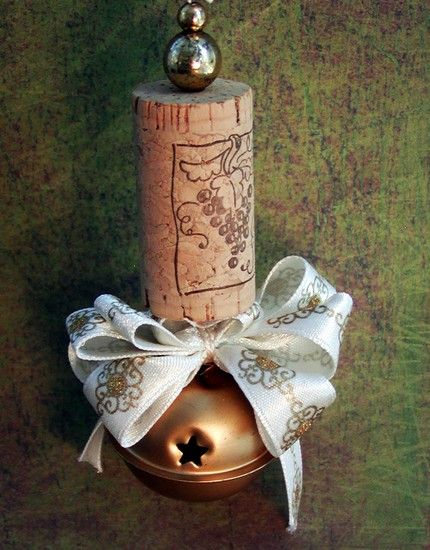 Recycled wine cork with jingle bell