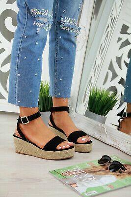 Womens Wedge Heel Sandals Espadrille Ladies Ankle Strap Flat Platform Shoes 3-8