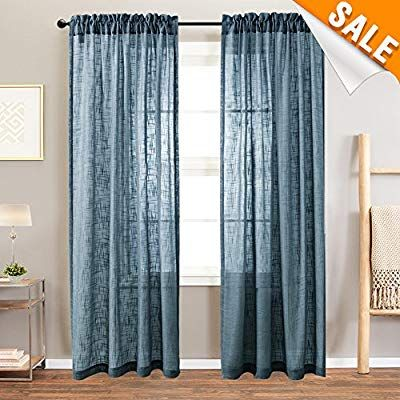 Amazon Com Sheer Curtains Open Weave Linen Texture Curtains For Living Room 63 Inches Long Rod Pocket Voile Window Curtains Living Room Drapes Panel Curtains